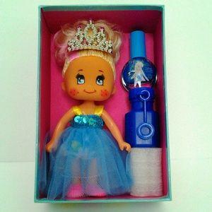 Girl Tiara & Doll Blue Nail Polish Bubble Gift Box